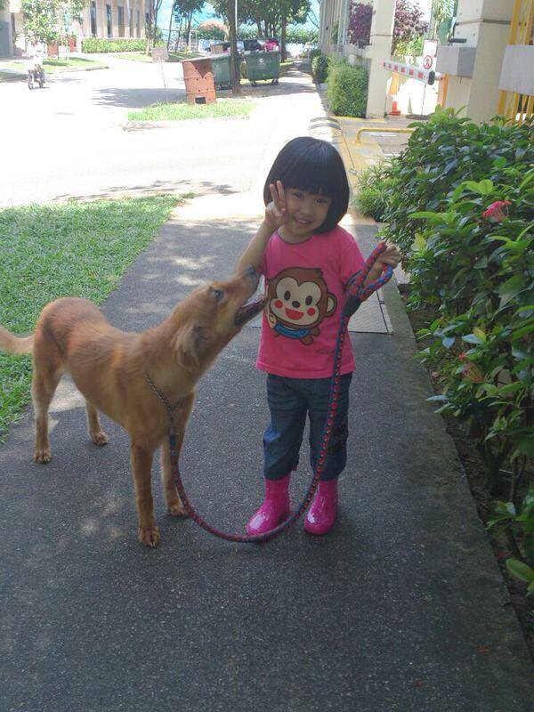 """Qiuyan s daughter with her dog Roche! So cute!"""